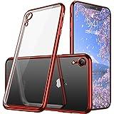 iPhone XR ケース クリア 耐衝撃 TPU メッキ加工 ソフトシェル Qi充電対応 指紋防止 透明 おしゃれ かわいい ストラップ シリコン 最軽量 スリム 薄型 一体型 人気 防塵 アイフォンXR 用 耐衝撃カバー レッド