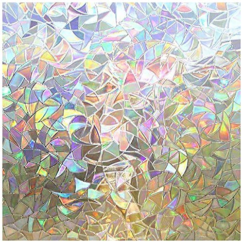 Rabbitgoo 3D No Glue Static Decorative Privacy Window Films for Glass Non-Adhesive Heat Control Anti Uv 23.6in. by 78.7in. (60 X - Fiber Bubble Clear