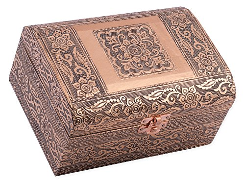 Cottage Garden Copper Toned Metal Stamped Moroccan Tile Round Top Trunk Keepsake Box
