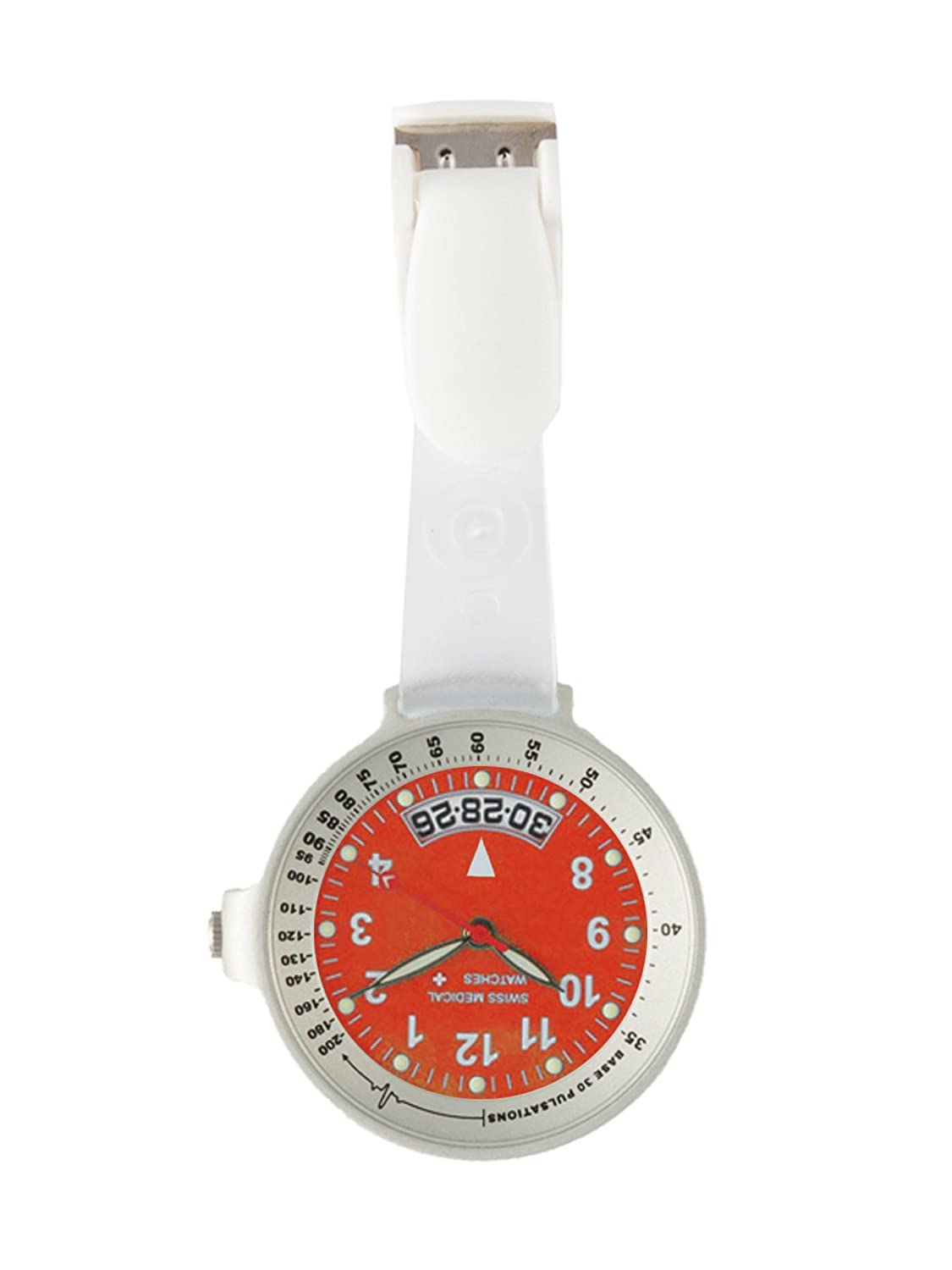 Taschenuhr Swiss Medical Care Line Silber Rot L.E. + Gratis Gravur