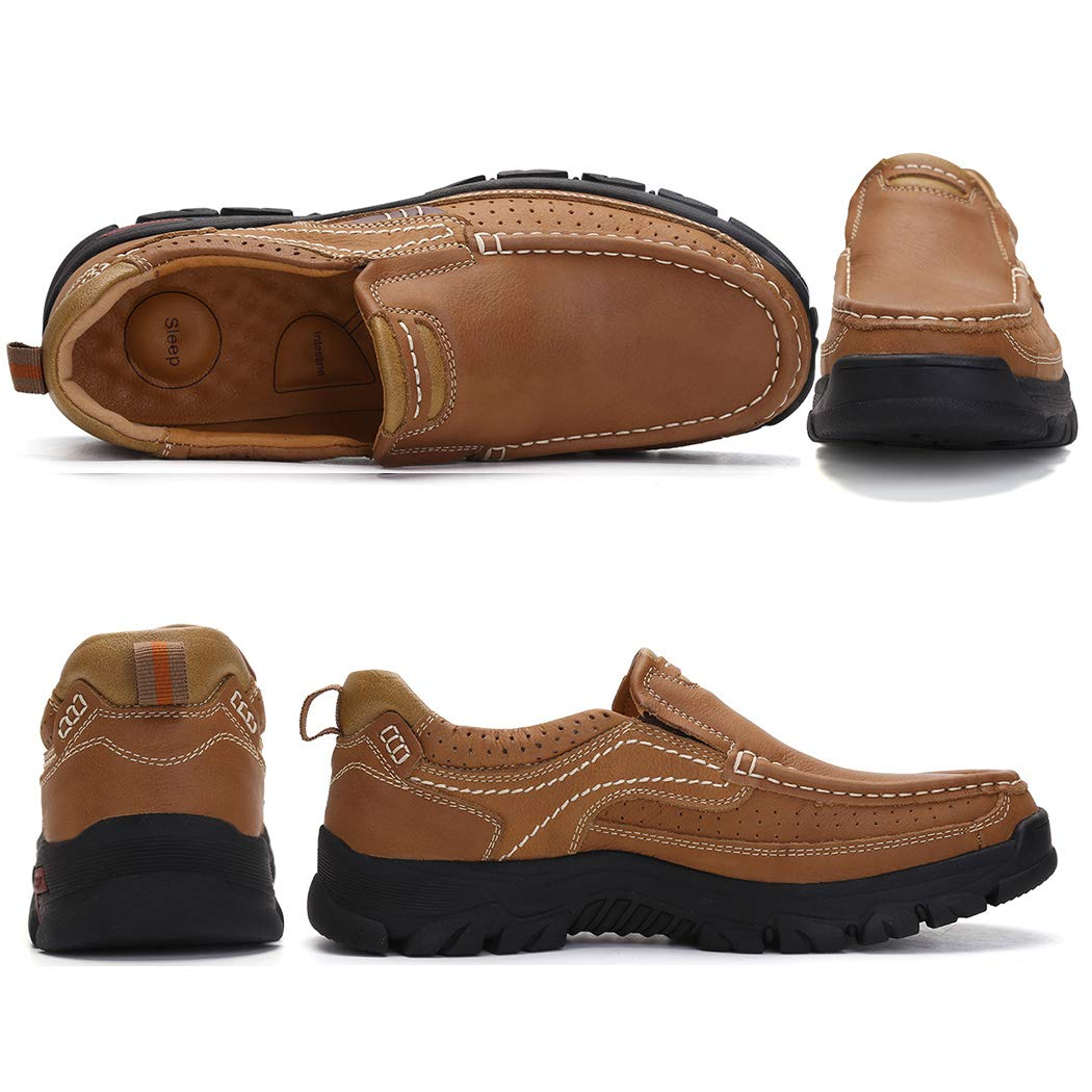 TAIGEL Mens Slip On Loafers Leather Lightweight Casual Walking Shoes
