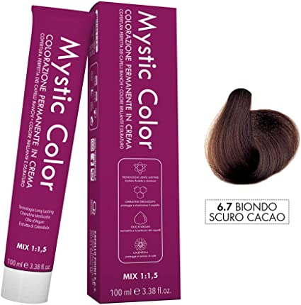 Mystic Color - Coloración Permanente en Crema con Aceite de Argán y Caléndula - Color Natural y Duradero - Tono6.7 Cacao Rubio Oscuro - 100 ml