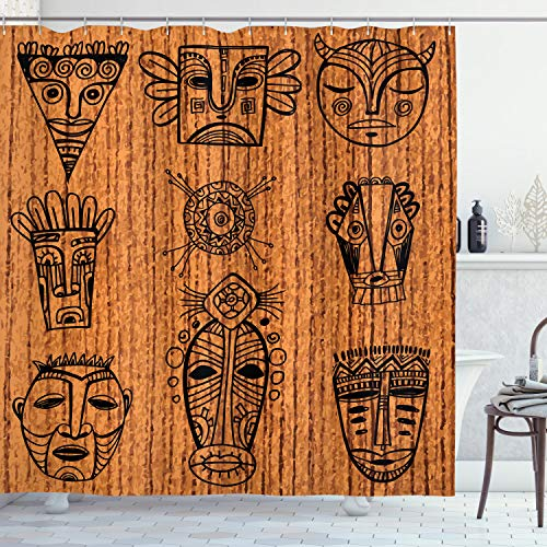 Ambesonne African Shower Curtain, Ceremonial Native Illustration Cultural Masks Art Print, Cloth Fabric Bathroom Decor Set with Hooks, 84