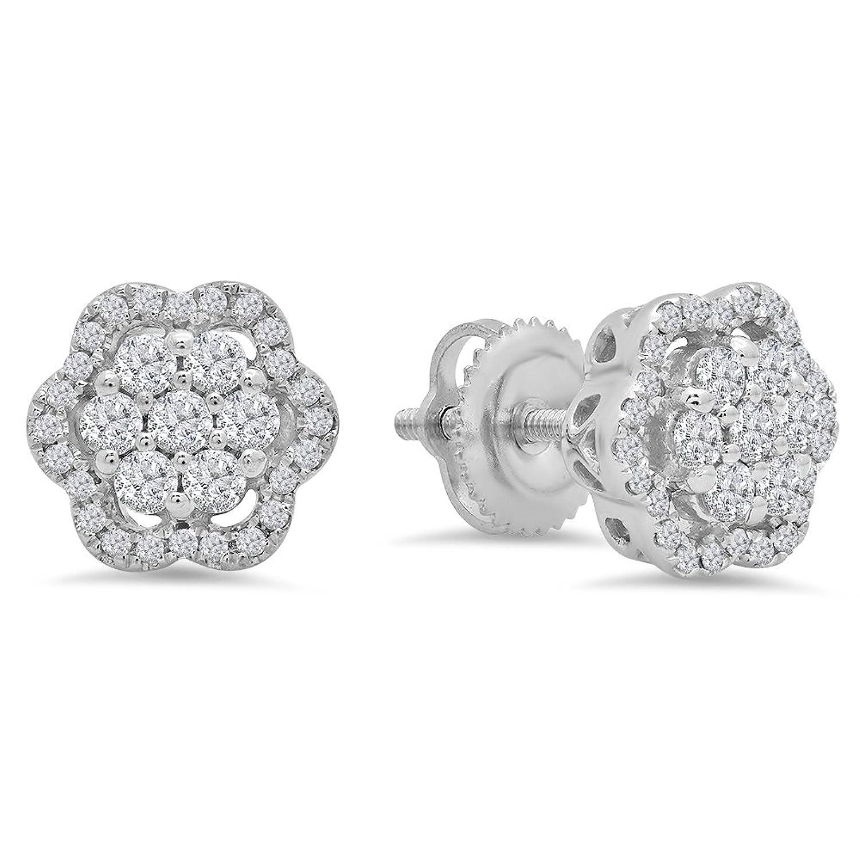 0.45 Carat (ctw) 10k White Gold Round White Diamond Ladies Fashion Cluster Style Stud Earrings