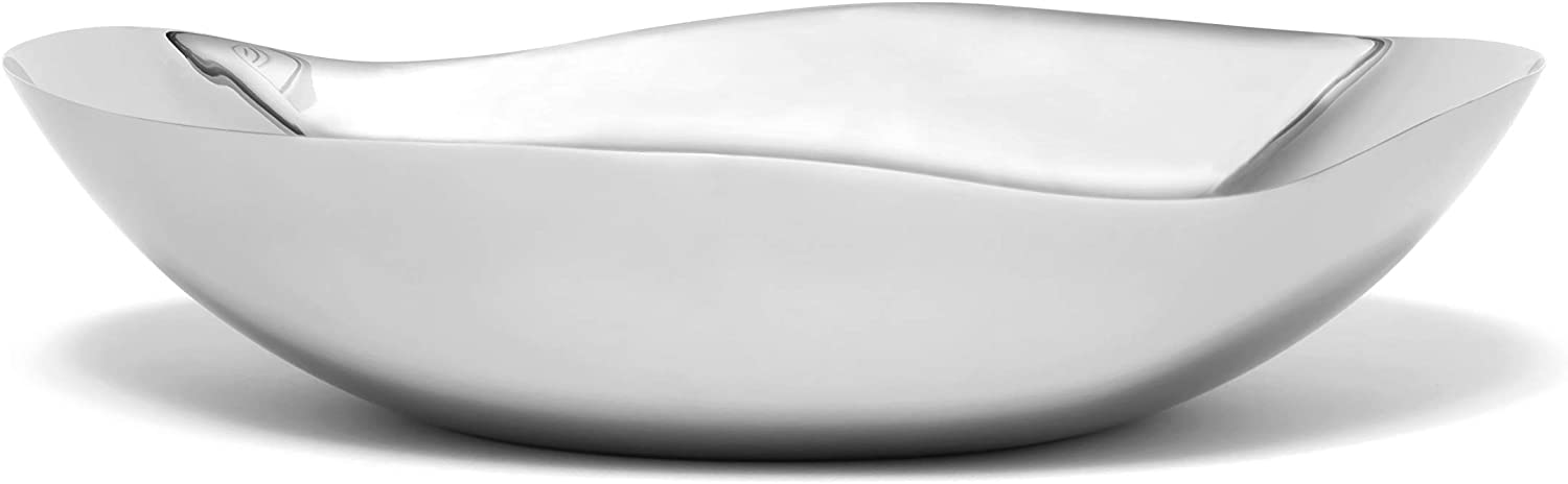 "Lipper International Seascape Stainless Steel Large & Shallow Wavy Bowl 12"" , Mirror finish"
