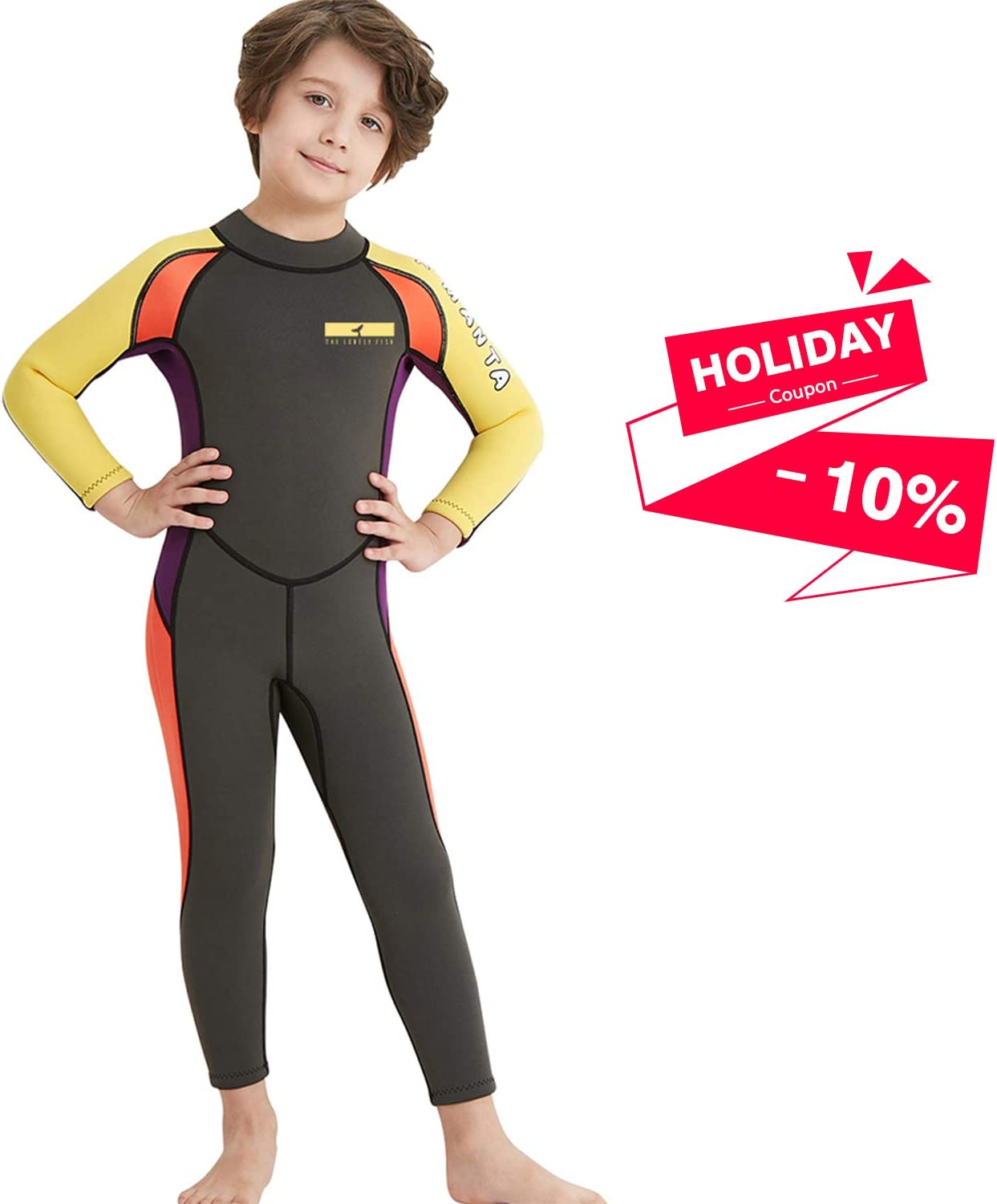 Dark Lightning Kids Wetsuit, 2mm Neoprene Thermal Swimsuit, Youth Boys and Girls One Piece Wet Suits for Scuba Diving, Full Suit and Shorty Swimsuit