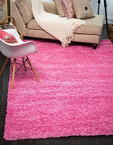 Unique Loom Solid Shag Collection Taffy Pink 7 x 10 Area Rug (6' 11