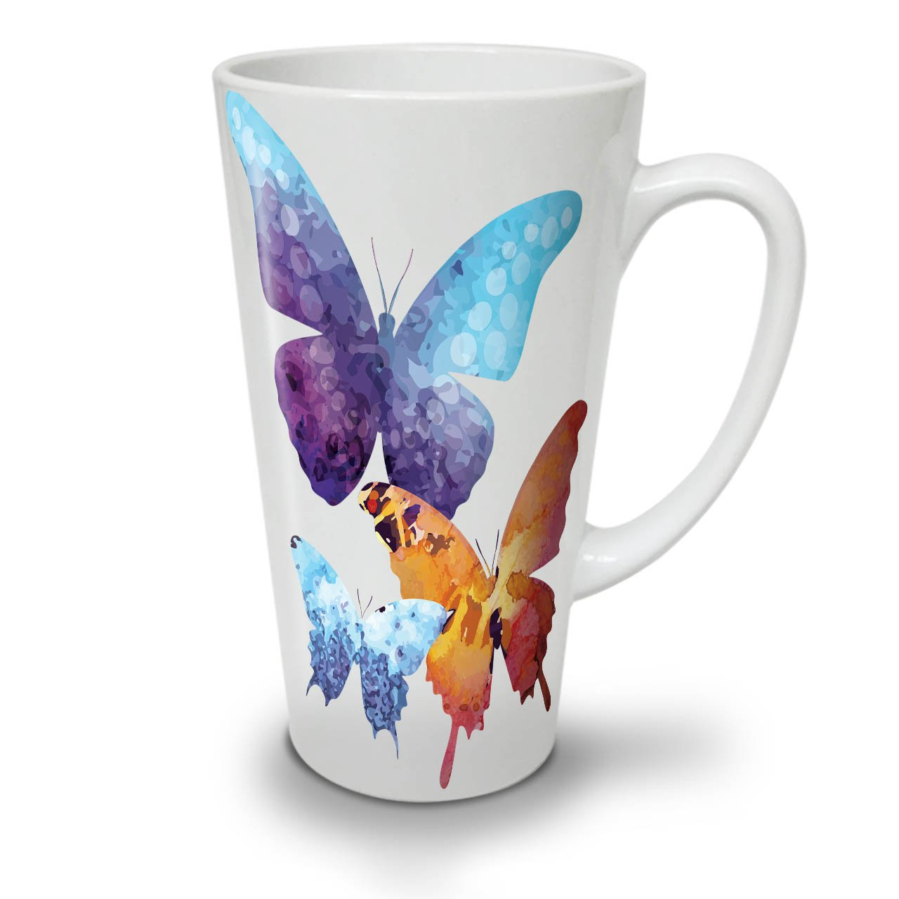 Colorful Butterflies Art White Ceramic Latte Mug 12 oz | Wellcoda