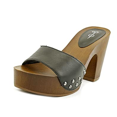 f32bed68f2 Jessica Simpson Womens Karema Leather Open Toe Casual Slide, Black, Size 8.5