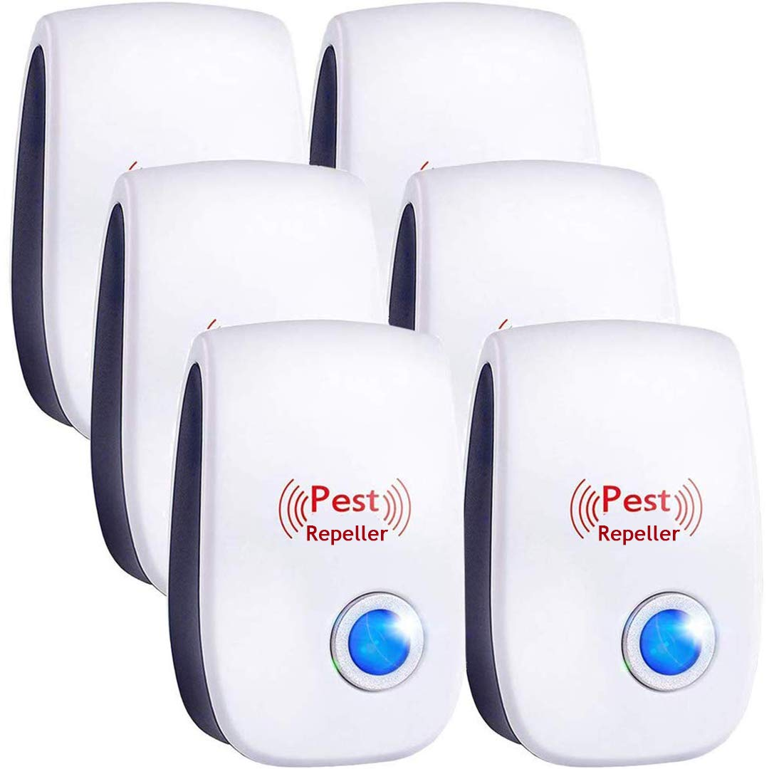 Bocianelli Upgraded Ultrasonic Pest Repeller 6 Pack, Most Effective 2019 Electromagnetic, Ionic Indoor Anti Mouse, Ant, Mosquito Control, Safe and Quiet Device, Night Light by Bocianelli