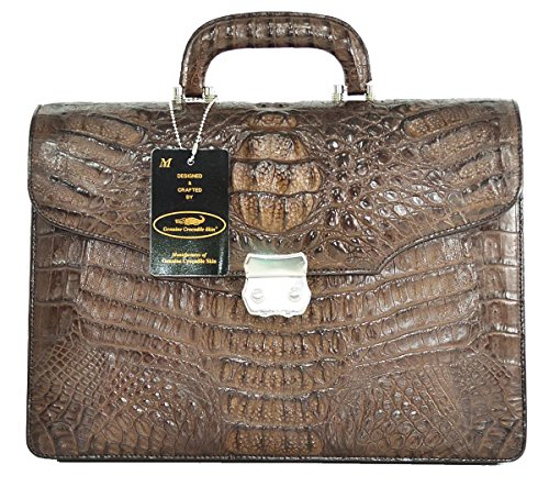 Crocodile Skin Bags (Authentic M Crocodile Skin Mens Hornback Leather W/Strap Briefcase Business Bag Handbag (Dark)
