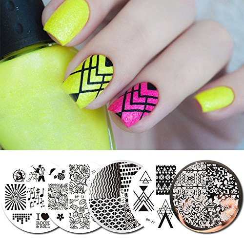 BORN PRETTY 5Pcs Stamping Plate Rock Music Flower French Round Nail Art Image Template