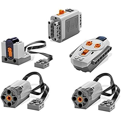 LEGO 5pc Power Functions Motor Battery IR Remote Receiver SET: Toys & Games