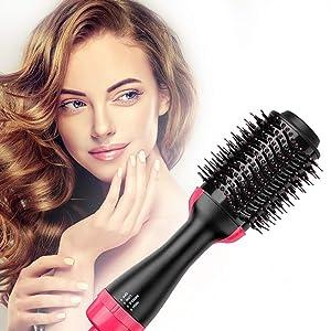 Hot Air Brush,Hair Dryer Brush, One Step Hair Dryer & Volumizer, Styler for Straightening, Curling, Salon Negative Ion Ceramic Electric Blow Dryer Rotating Straightener Curl Brush