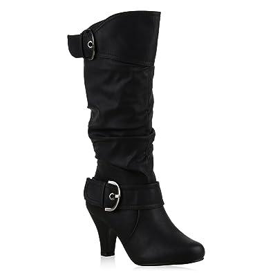 Warm Gefütterte Stiefel Damen Winter Boots Elegante Schnallen  Trichterabsatz Wildleder-Optik Booties 42738 Schwarz Schnallen
