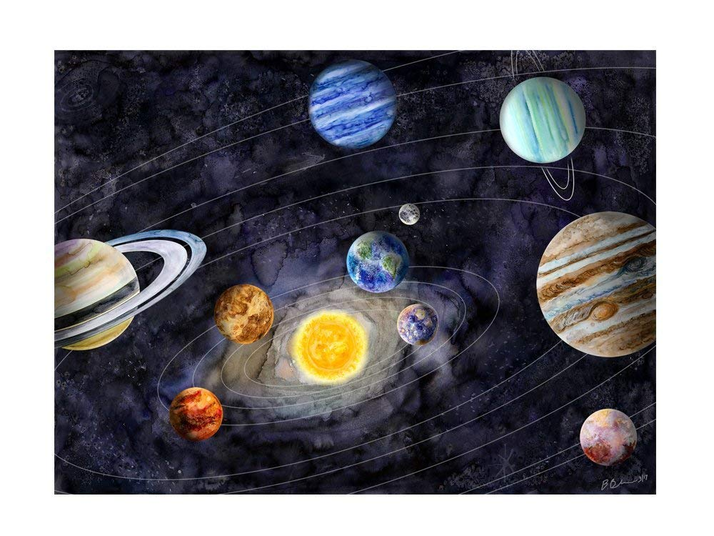 Watercolor Space Print set Solar system set of 10 Watercolor Solar system posters Space wall art set Watercolor outer space decor