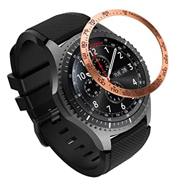 MoKo Anillo de Bisel Compatible con Samsung Gear S3/Galaxy Watch 46mm, Smart Watch Bisel Cubierta Adhesiva de Acero Inoxidable Antiarañazos Protector ...