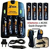 8 AA NiMH Rechargeable Batteries 3100mAh + AC/DC Quick Charger Kit for Flashlight, Carbon Monoxide Detectors, Digital Cameras, Toys, Solar Lights, Wireless Toothbrush, Remote Controls, Clocks, Cordless Phones, Shavers and All Power Consuming Devices