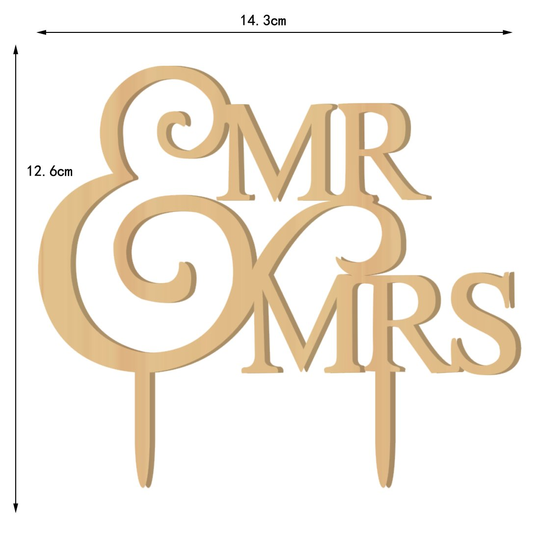 Mr and Mrs Wedding Cake Toppers Wood Party Cake Decoration Bride And Groom Love by juyue (Image #2)