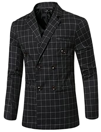 8a652ea38107 Jotebriyo Men Lapel Double-Breasted Slimming Plaid Print Blazer Jacket Coat  Suit Black XS