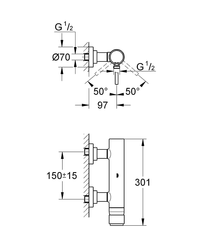 Chrom 32650003 Grohe Atrio Brause-und Duschsysteme Einhand-Brausebatterie DN 15