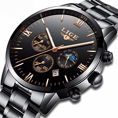 Best buy Watches Men Luxury Brand LIGE Moon phase Waterproof Sport Analog Quartz Watch Stainless steel
