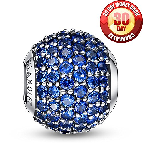 Glamulet 925 Sterling Sliver Lucky Birthstone Paved Crystal Charms Beads Bracelet, September Sapphire Blue, Ideal Jewelry Gifts for Lover, Women, Mom, Wife, Girls ()