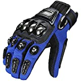 ILM Alloy Steel Bicycle Motorcycle Motorbike Powersports Racing Gloves (L, BLUE)