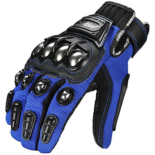 ILM Alloy Steel Bicycle Motorcycle Motorbike Powersports Racing Gloves (XXL, BLUE)