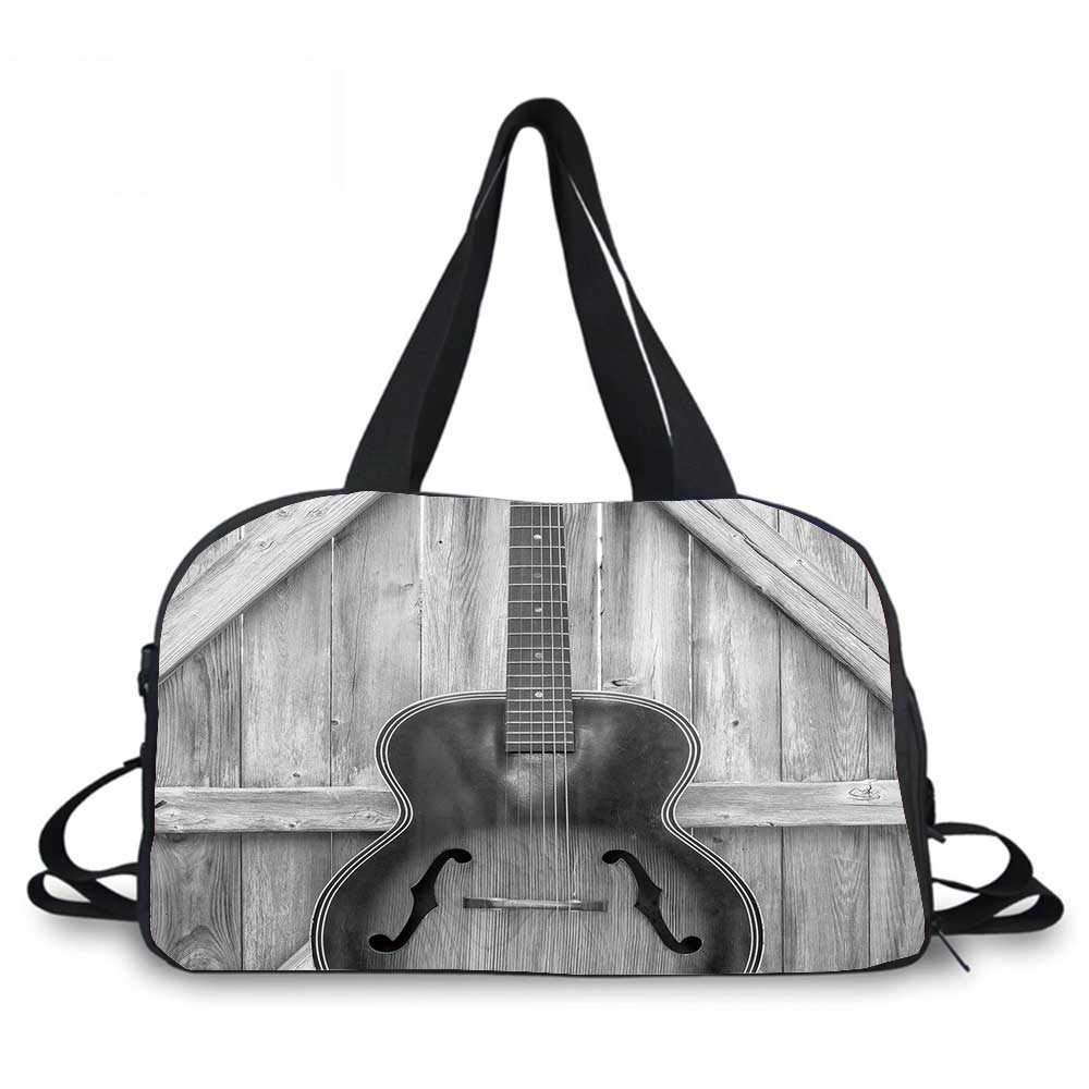 Western Personality Travel Bag,Vintage Acoustic Instrument Guitar Hanged on Old Wooden Door Fences Country Ranch for Travel Airport,One_Size by YOLIYANA