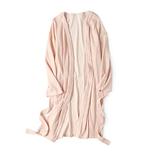 b0f571ff5158 Amazon.com  Cotton Robe Soft Kimono Spa Knit Bathrobe Lightweight ...