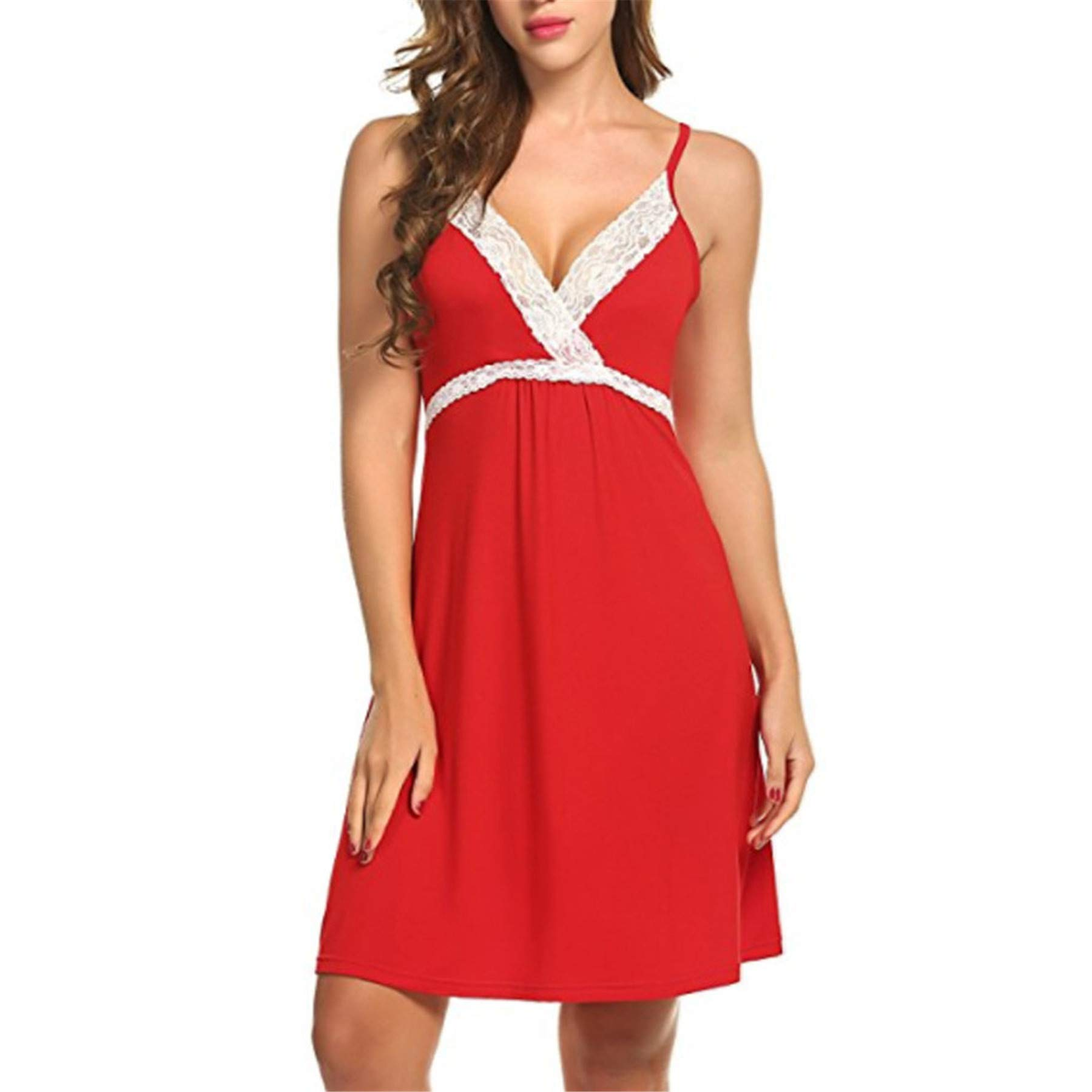 TIFENNY Fashion Sexy Pajamas Lace Sleepwear Lingerie Temptation Underwear Jumpsuit Dress Vest