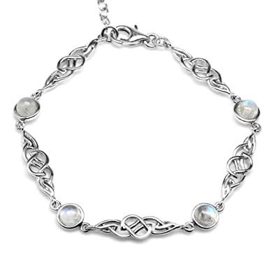 99ba8b5b84 Amazon.com: Natural Moonstone 925 Sterling Silver Celtic Knot 7-8.5 Inch  Adjustable Bracelet: Jewelry