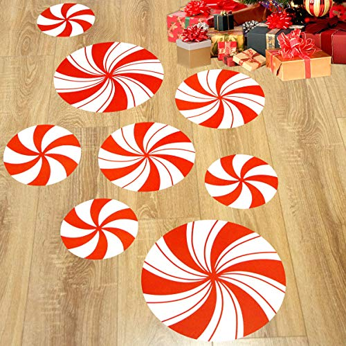 Peppermint Floor Decals Stickers for Christmas Valentine's Day Candy Party Decoration 8 Pcs]()