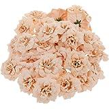50pcs seta artificiale rosa fiore testa fiori festa di nozze Bulk Apricot