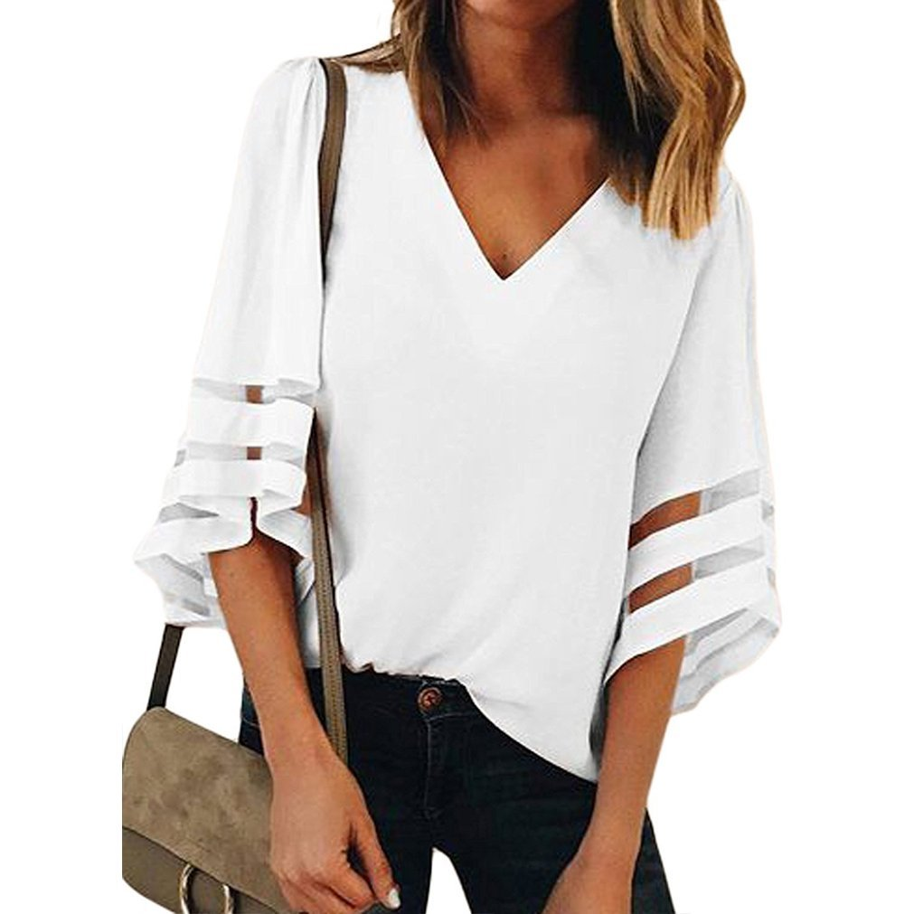 Women V Neck 3/4 Bell Sleeve Casual Lace Patchwork Blouses Loose Shirt Tops White M