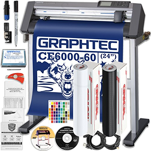Graphtec PLUS CE6000-60 24 Inch Professional Vinyl Cutter with BONUS Oracal 651, $2100 in Software, and 2 Year Warranty by Graphtec