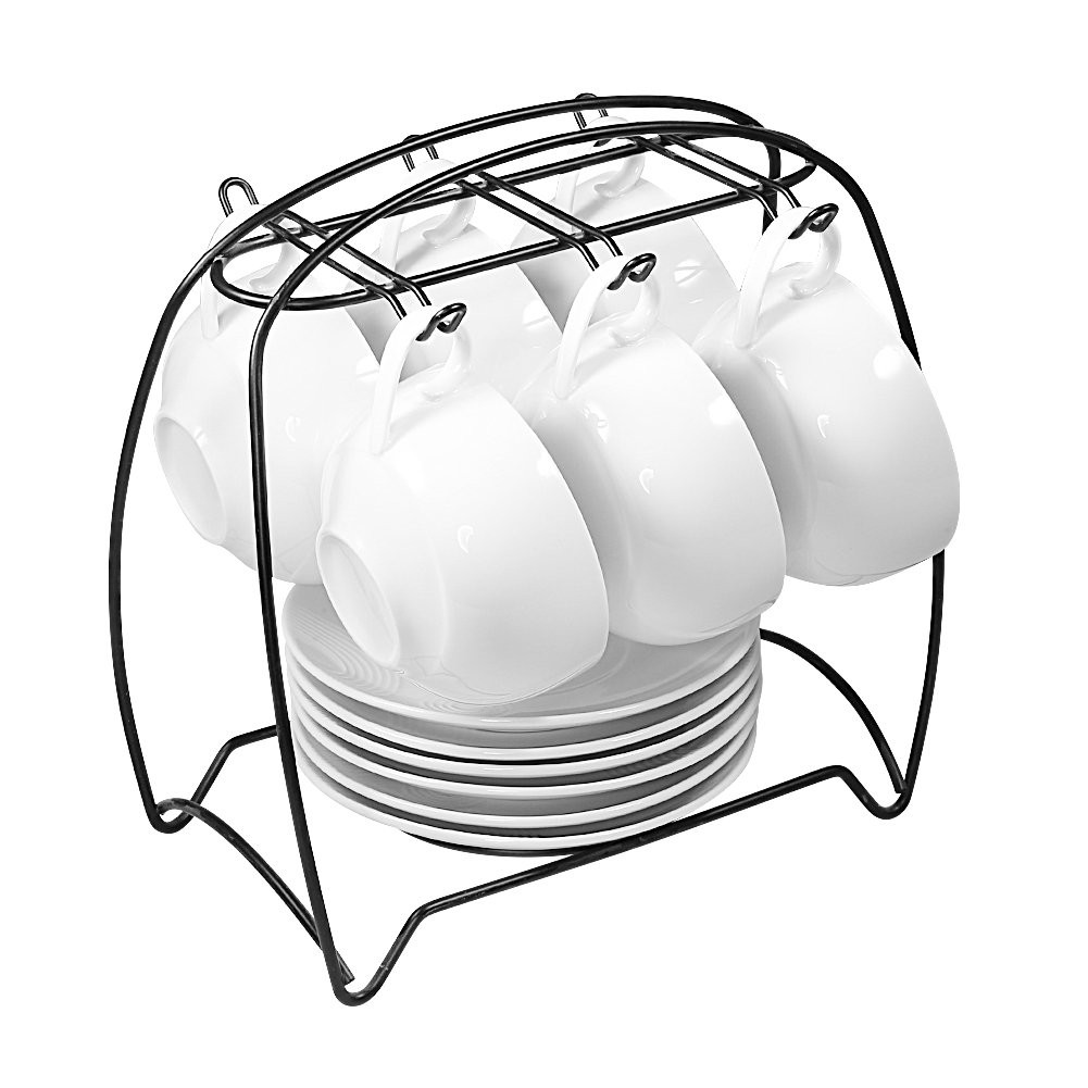 77L Tea Cups and Saucers Sets, Set of 6, [3.75 OZ(200 ML) Tea Cup] Ceramic Espresso Latte Coffee Cups and Saucers Set with Iron Display Stand - Coffee Cups and Saucers Set for Home and Office, White
