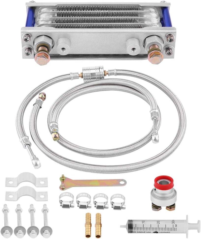 KIMISS Aluminio 65ml Enfriador de aceite, Kit de sistema de Radiador de enfriamiento de aceite del motor para GY6 Engine(plata)