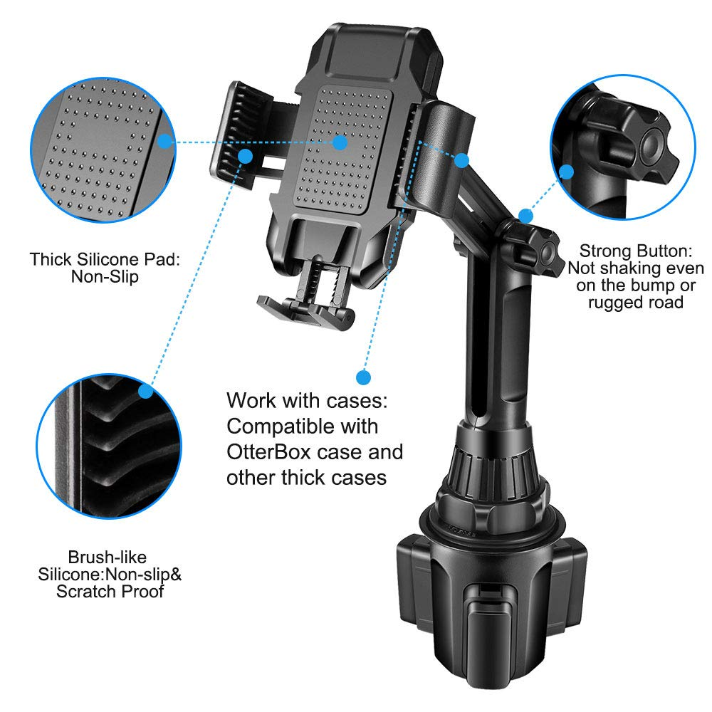 Upgrade Cup Phone Holder Car Cup Holder Phone Mount,Phone Cup Holder for Car,Upgraded Car Phone Cradle Mount Cell Phone Cup Holder Compatible with Cell Phone iPhone Xs//XS Max//X//8//7 Plus//Galaxy