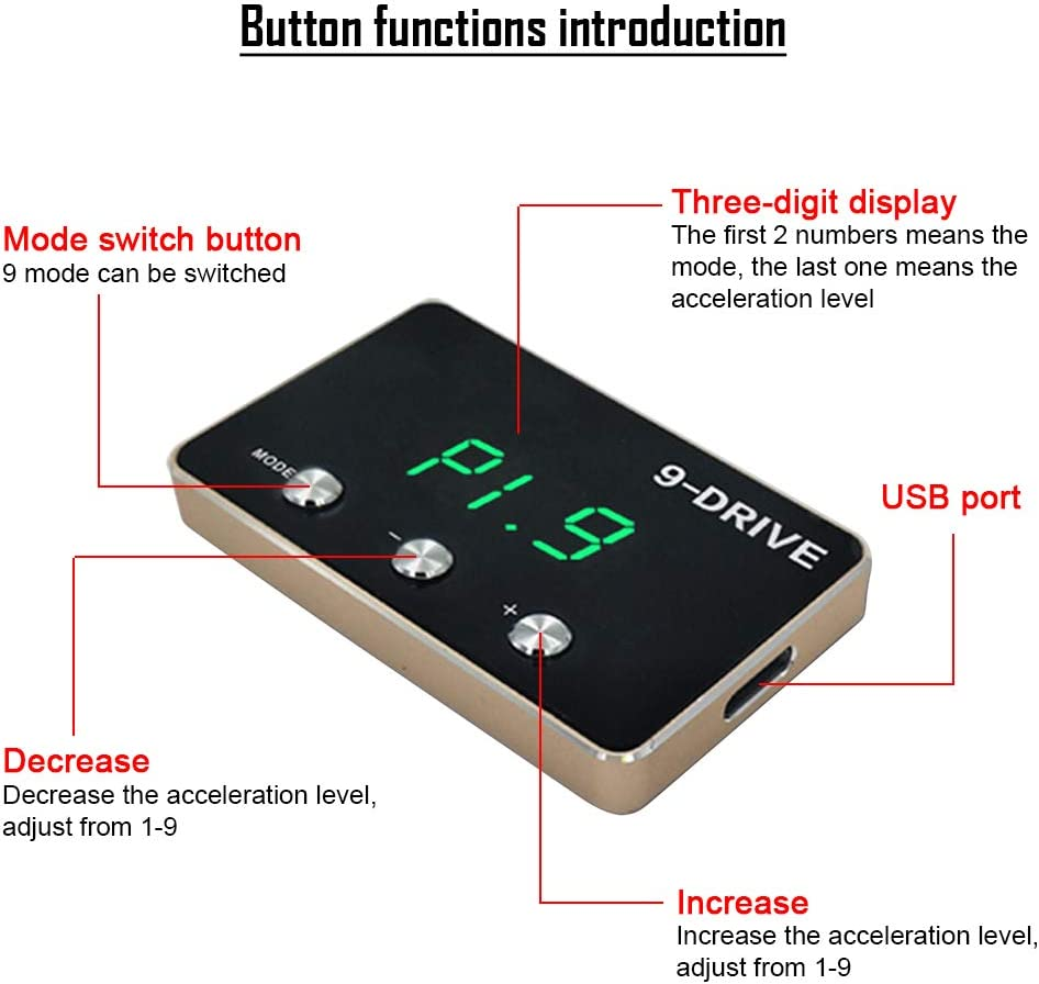 GZYF Car 9 Drive Mode Electronic Throttle Controller Auto Gas Pedal Booster Compatible with Corolla Camry RAV4 Avalon Avanza 4Runner Hilux Prius Yaris