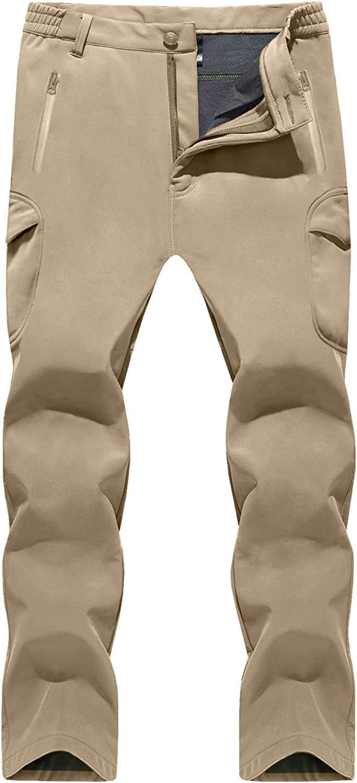 Pantalones de invierno para hombre forro polar, el/ásticos, resistentes al agua, con bolsillo con cremallera TACVASEN