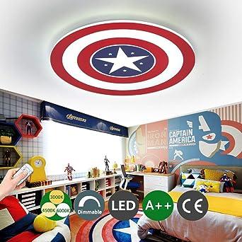 de niños Capitán techo creativa de pared los LED Regulable Habitación con metal Cuarto de América remoto control del Lámpara de techo Luz de Lámpara VSMzqpU