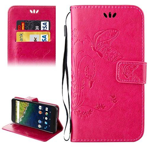 Mobile Phone Cases&decorate Huawei Nexus 6P Crazy Horse Textura de impresión Horizontal Flip caja de cuero con titular y ranuras para tarjetas y billetera y cordón ( Color : Red ) Magenta
