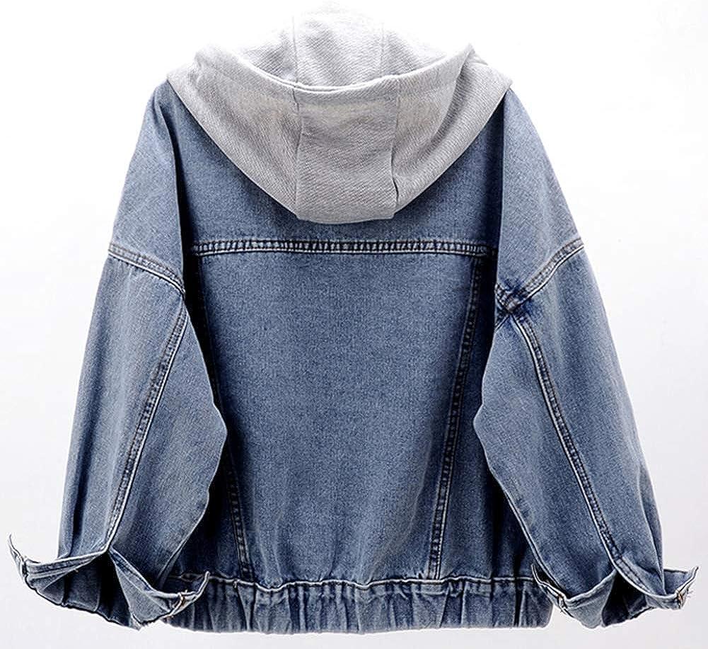 LifeShe Womens Casual Detachable Hoodie Denim Jacket with Hood