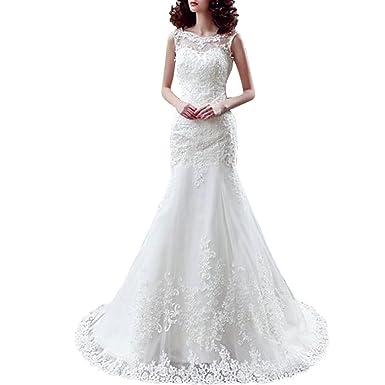 Elegant Bateau Neckline Mermaid Wedding Dresses Lace Appliques ...