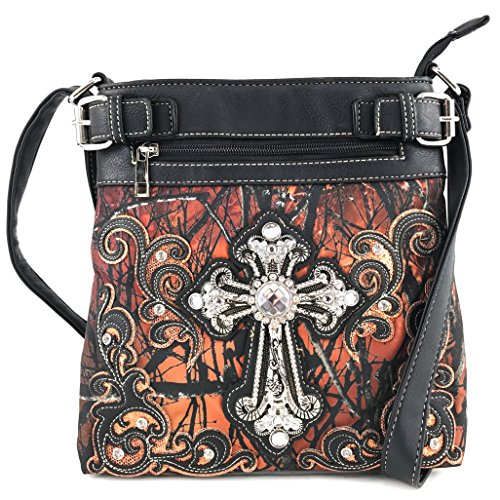 Orange Carry Cross Messenger Rhinestone Justin Shoulder Concealed Wing Handbag Angel West Tree Bling Cross Camouflage Purse q11O6vwT4