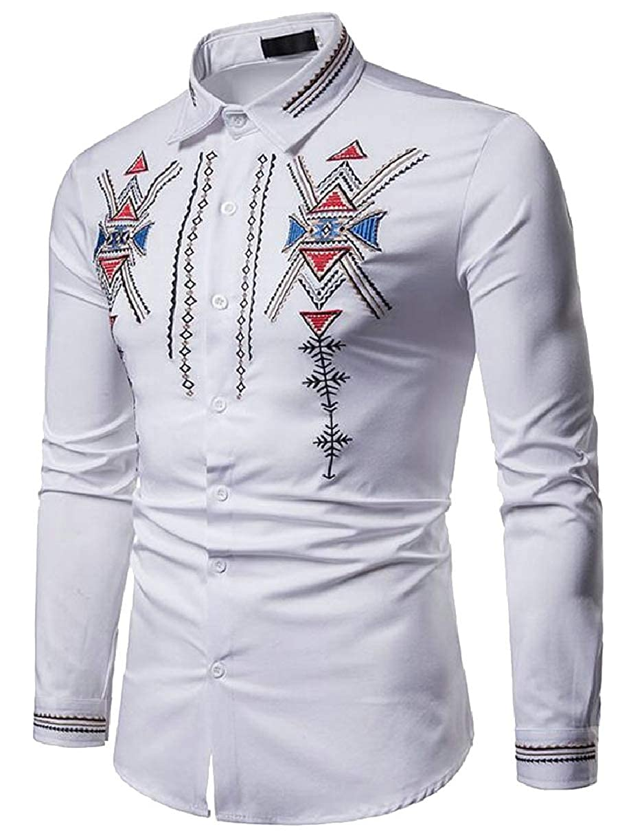 ZXFHZS Mens Hipster Embroidery Slim Fit Long Sleeve Button Down Shirts