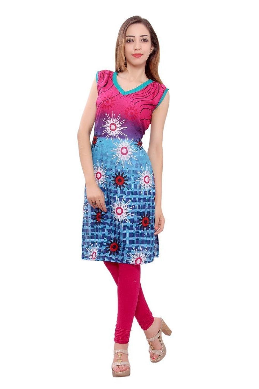 Kurti Studio Festive Rani Blue Unstitched Premium Cotton Rayon Kurti Dress Material