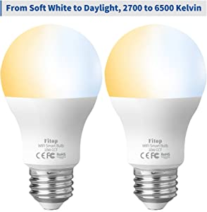 Smart Light Bulb, WiFi Bulbs Work with Alexa, Siri, Google Home, Smart LED Bulb 10W Equivalent to 80W, 960LM Dimmable, Warm White to Daylight Adjustable, No Hub Required, 2 Pack Fitop E26 A19 Bulbs